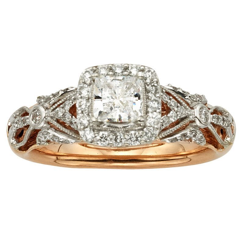 Simply stunning, this 1 carat white diamond wedding ring is a stunning look on the big day. Crafted of both 14k rose and white gold, this wedding ring features a princess-cut diamond at the center and