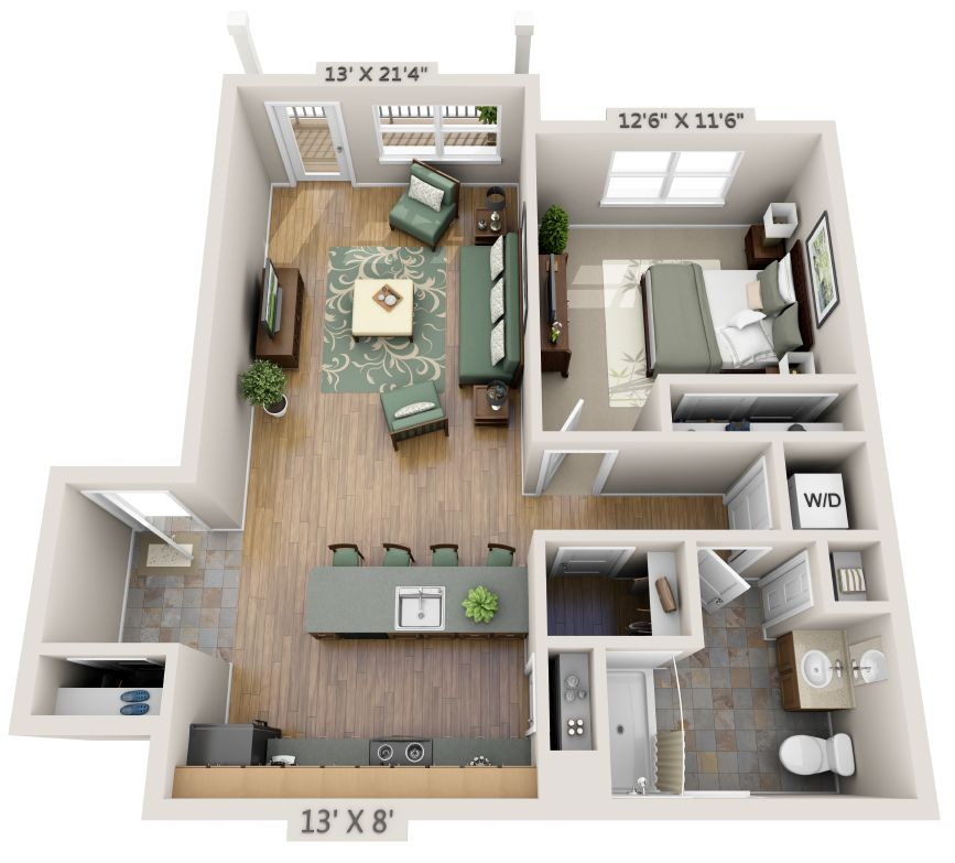 One Bedroom Apartment Floor Plans 3d Apartment Plans Bedroom