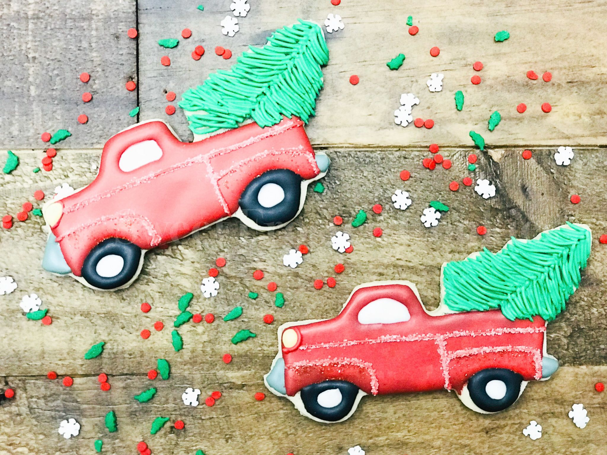 Christmas truck decorated cookies cookie decorating