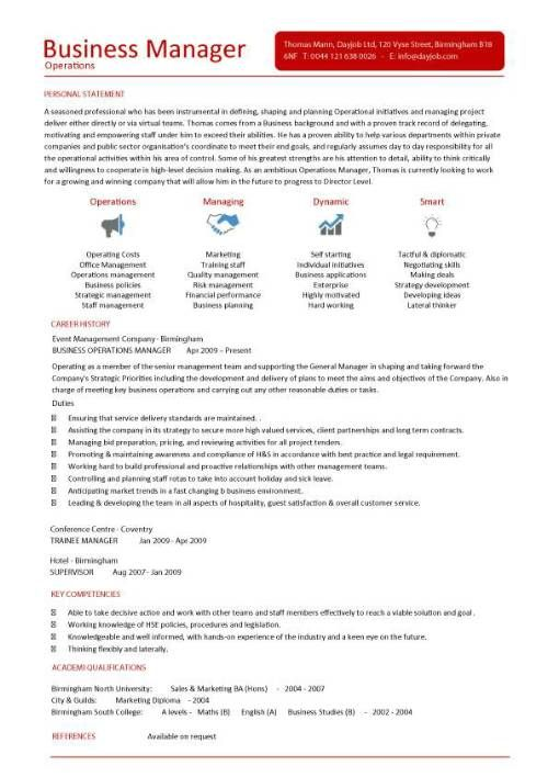 Business Operations Manager resume template purchase | Operations ...