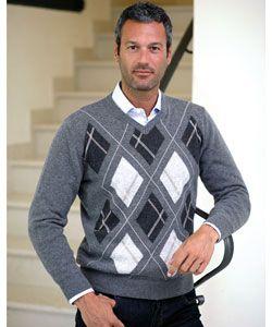 Shop for I LEVRIERI Men's Luxury Italian Cashmere Argyle Sweater ...