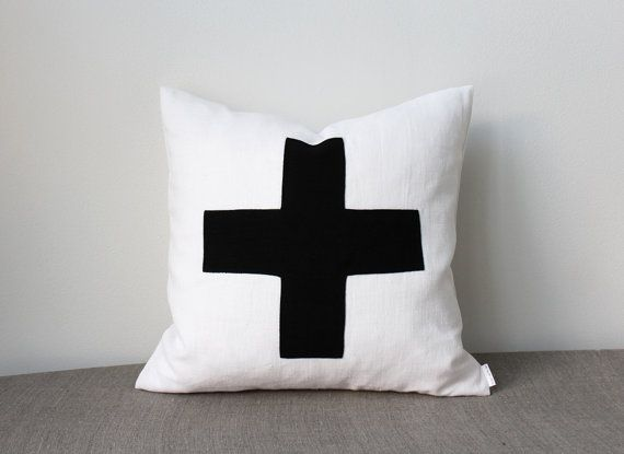 Best 16X16 Pillow Cover Swiss Cross Black And White Throw By 400 x 300