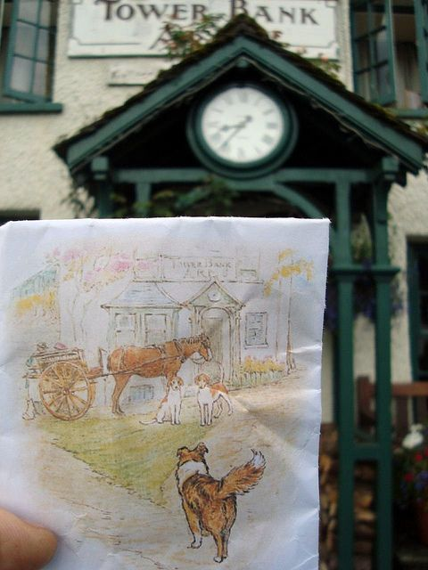 Beatrix Potter lived in Near Sawrey (there is a Far Sawrey!) and painted the Tower Bank Arms, as here! Jemima Puddleduck not seen. by bazzadarambler, via Flickr