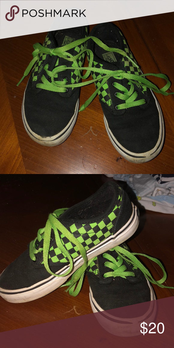 c84a48f0c6 Vans Black and green checkered. Worn but still have a lot of life ...