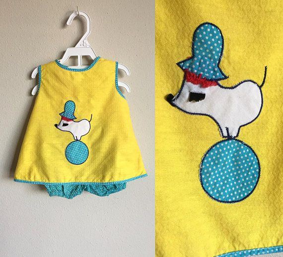 Vintage 1960s Baby Dress Set 60s 70s Infant Baby Girl