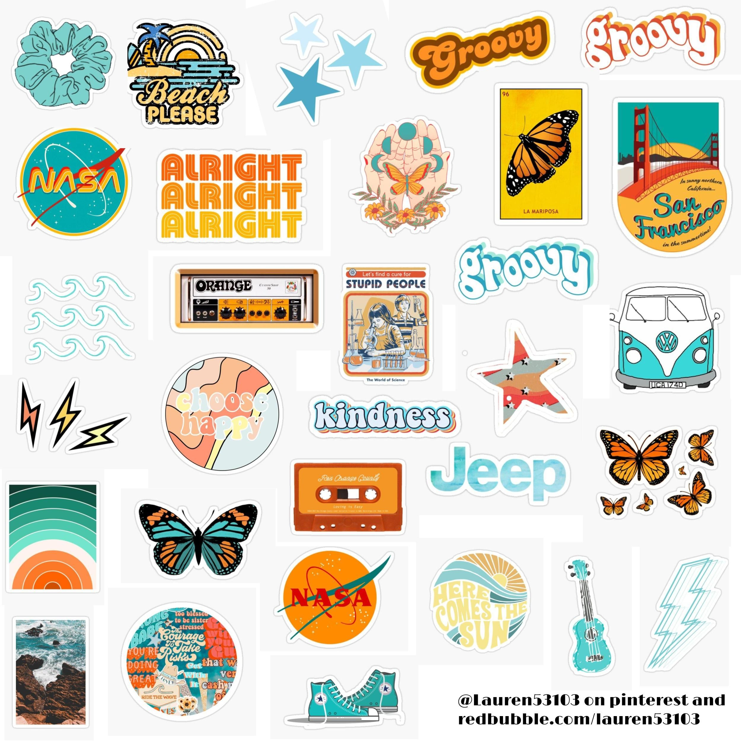 Orange And Teal Stickers Sticker By Lauren53103 In 2020 Cool Stickers Iphone Case Stickers Print Stickers