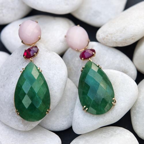 e7d8e8048877 Pendientes de Plata de Ley bañada en Oro con Piedras Naturales Jade verde