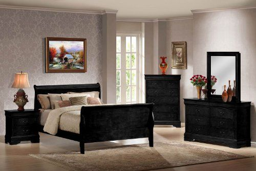 Contemporary Bedroom Set London Black By Acme Furniture: Louis Philippe Black Finish Wood Queen Size Sleigh Bed