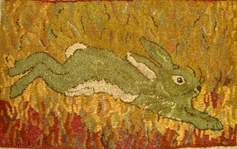 Green Bunny Hooked By Sharon Smith From Off The Hook Wool Rugs Soon To Reside On