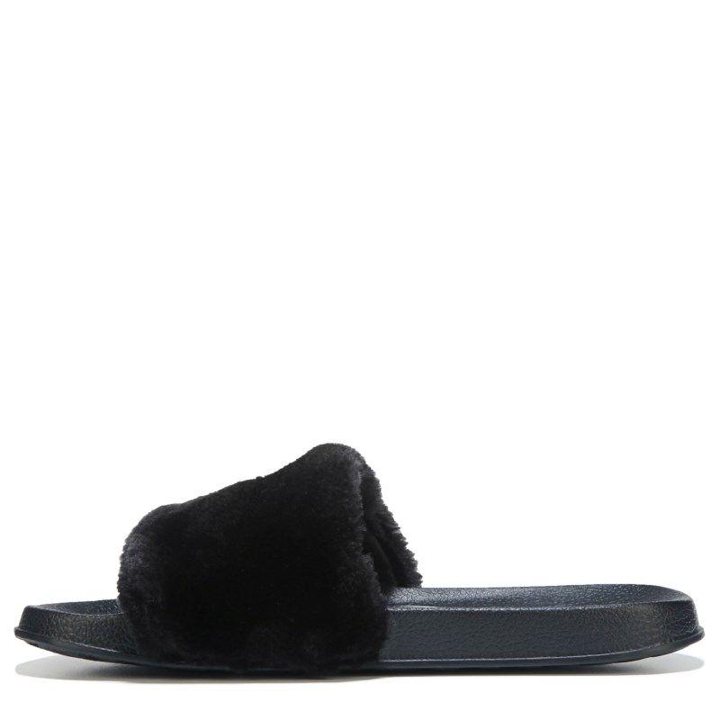 Nine West Kids Kids' Brennen Fur Slide Sandal Pre/Grade School Sandals ( Black)