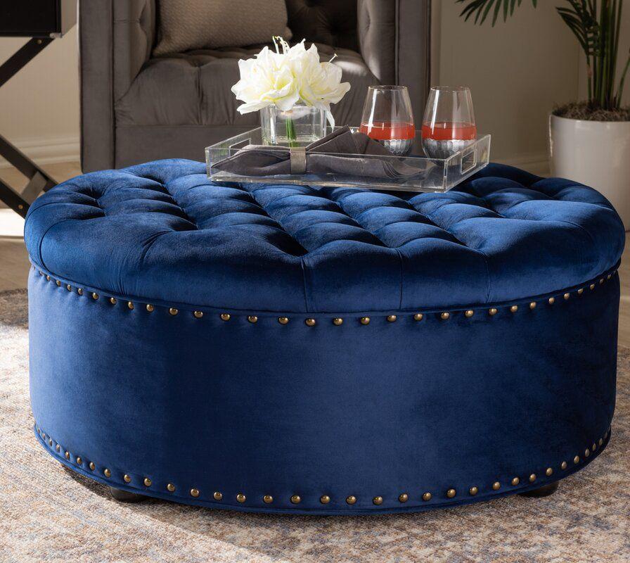 Palen Tufted Cocktail Ottoman Joss Main Blue Velvet Fabric Ottoman Tufted Storage Ottoman