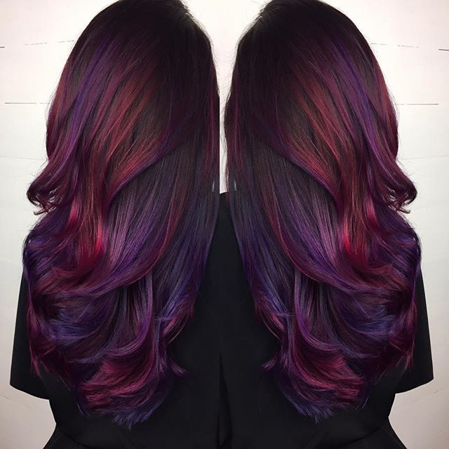 Dark Brown Hair With Purple And Deep Red Highlights Cool Hair Color Cool Hairstyles Hair Color Purple