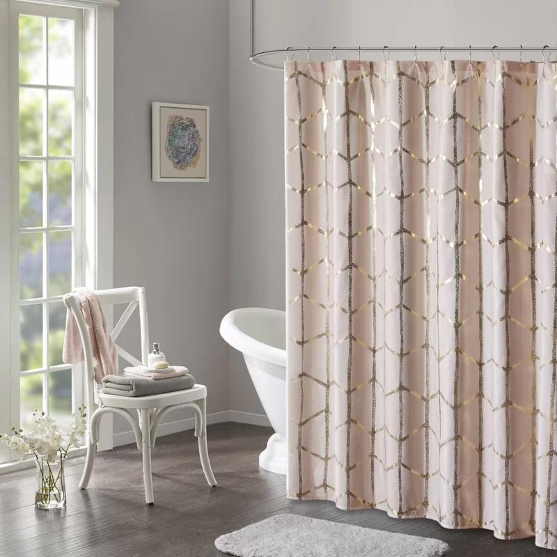 Mangesh Microfiber Geometric Single Shower Curtain In 2020 Pink