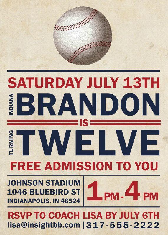 Baseball Birthday Party Printable Invitation Vintage Inspired