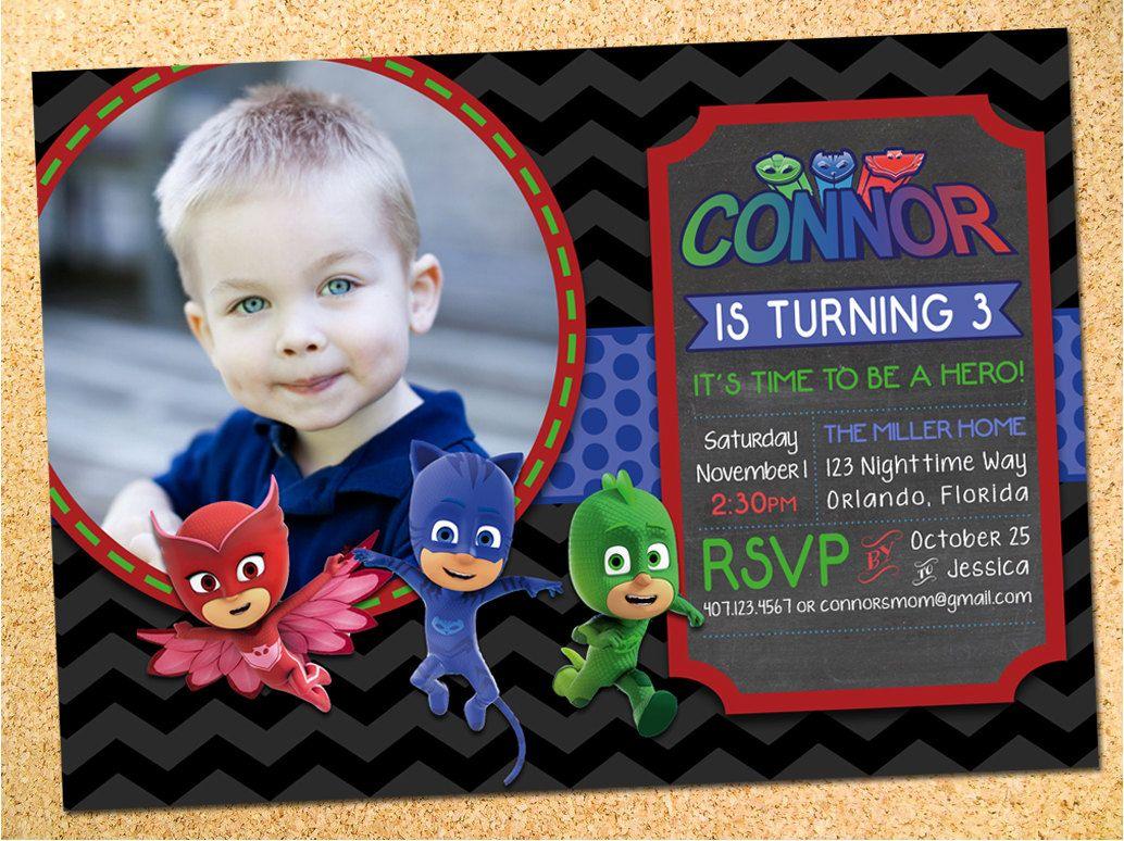 Custom Invitation Design | Pj mask, Pj and Party photos