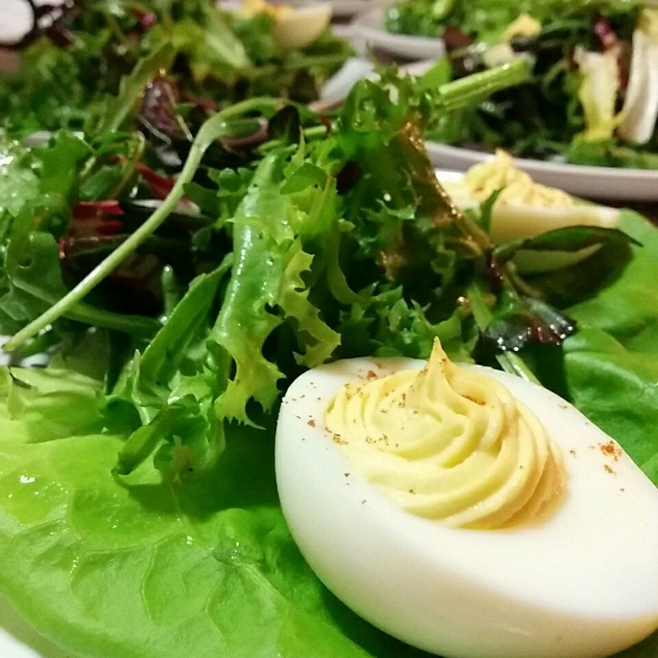 Mixed Greens Spring Salad with Deviled Eggs
