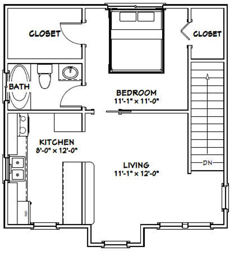 24x24 Duplex 1,088 sq ft PDF Floor Plan Instant