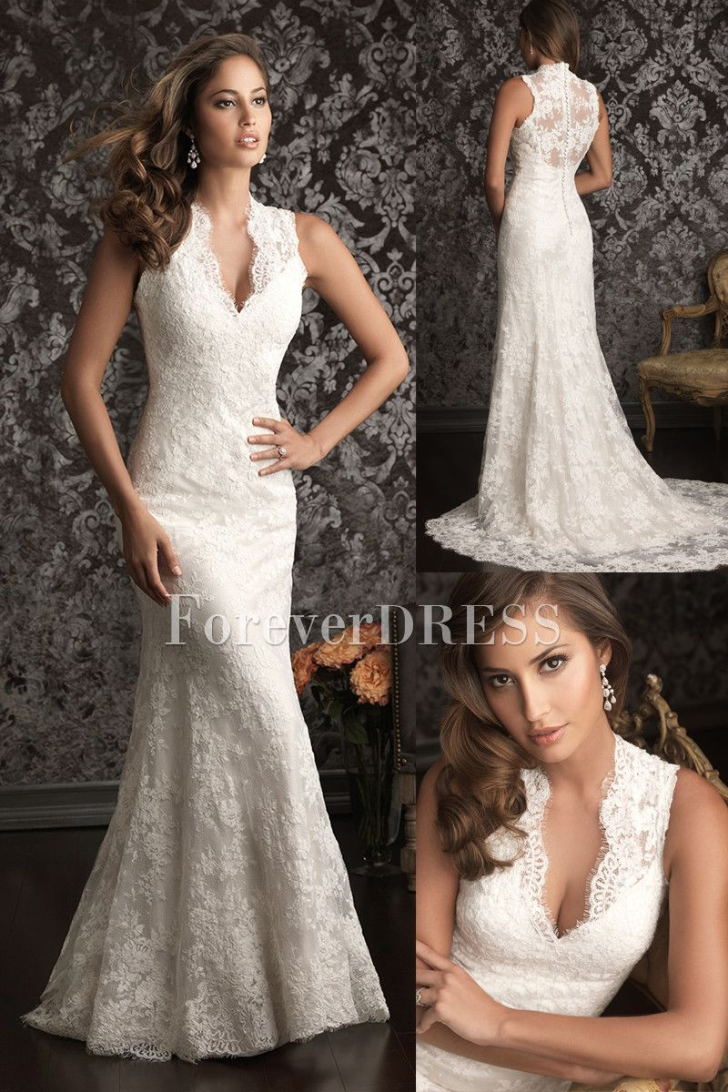 Casual White Mermaid Wedding Dress Made of Lace and Satin