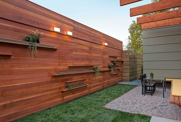 Idea For Shelving Along Side Fence Wood Fence Design Privacy Fence Decorations Modern Wood Fence