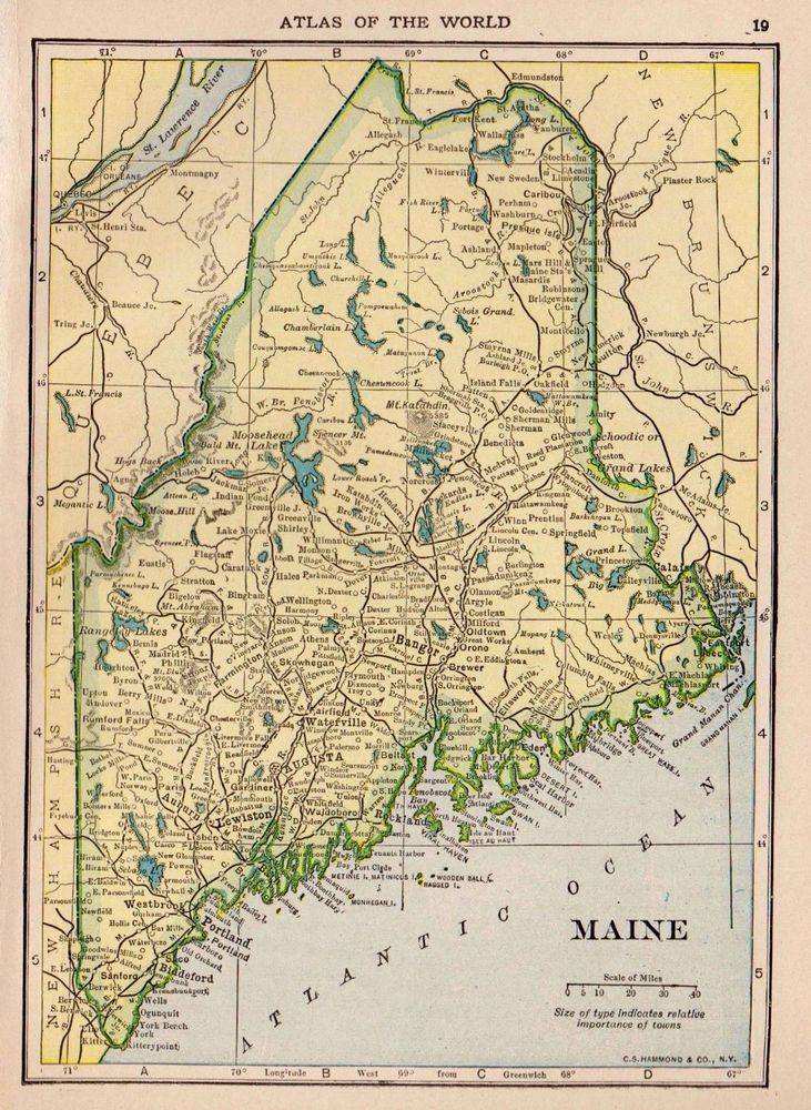 1910 Antique MAINE Map Original Map of Maine State Map Gallery