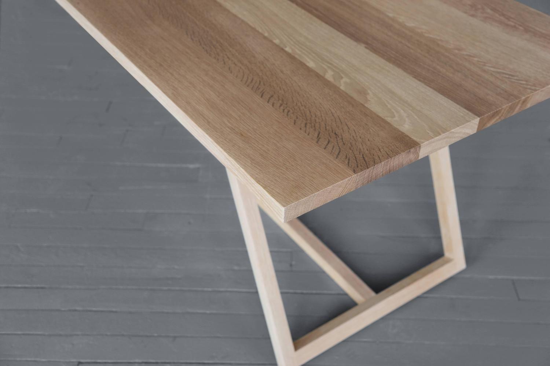 Thales dining table solid white oak geometric base sag harbordining