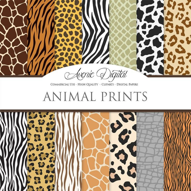 Vector Animal Prints Digital Paper Backgrounds Wild Animal Skin Fur Seamless Patterns Safari Textures Clipart Leopard Print Zebra Tiger In 2021 Digital Paper Clip Art Animal Print