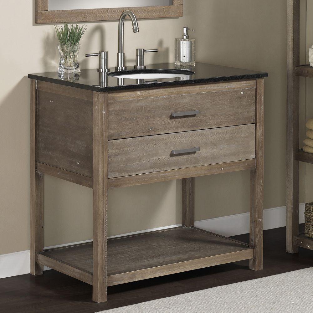 Elements 36 Inch Granite Top Single Sink Bathroom Vanity Granite