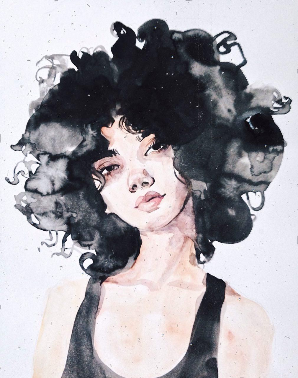 Ink And Watercolor Woman Portrait Illustration Curly Brunette