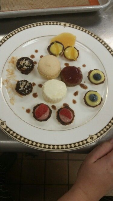 Petit fours and a macaroons
