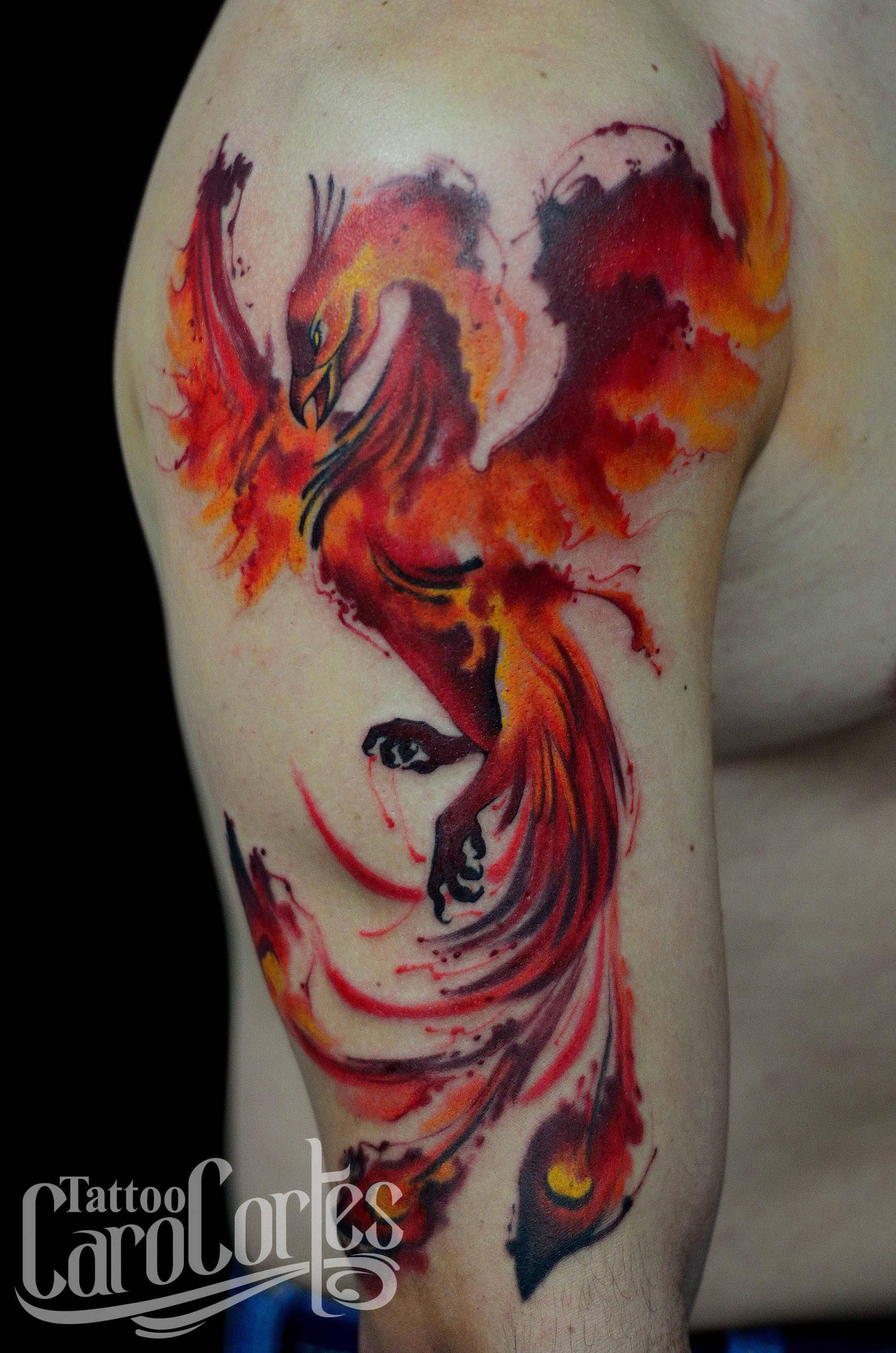 watercolor phoenix fenix acuarelado caro cortes colombian tattoo artist. Black Bedroom Furniture Sets. Home Design Ideas