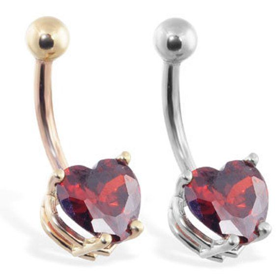 14k Solid Gold Belly Ring With Ruby 8mm Heart Yellow Or White Gold