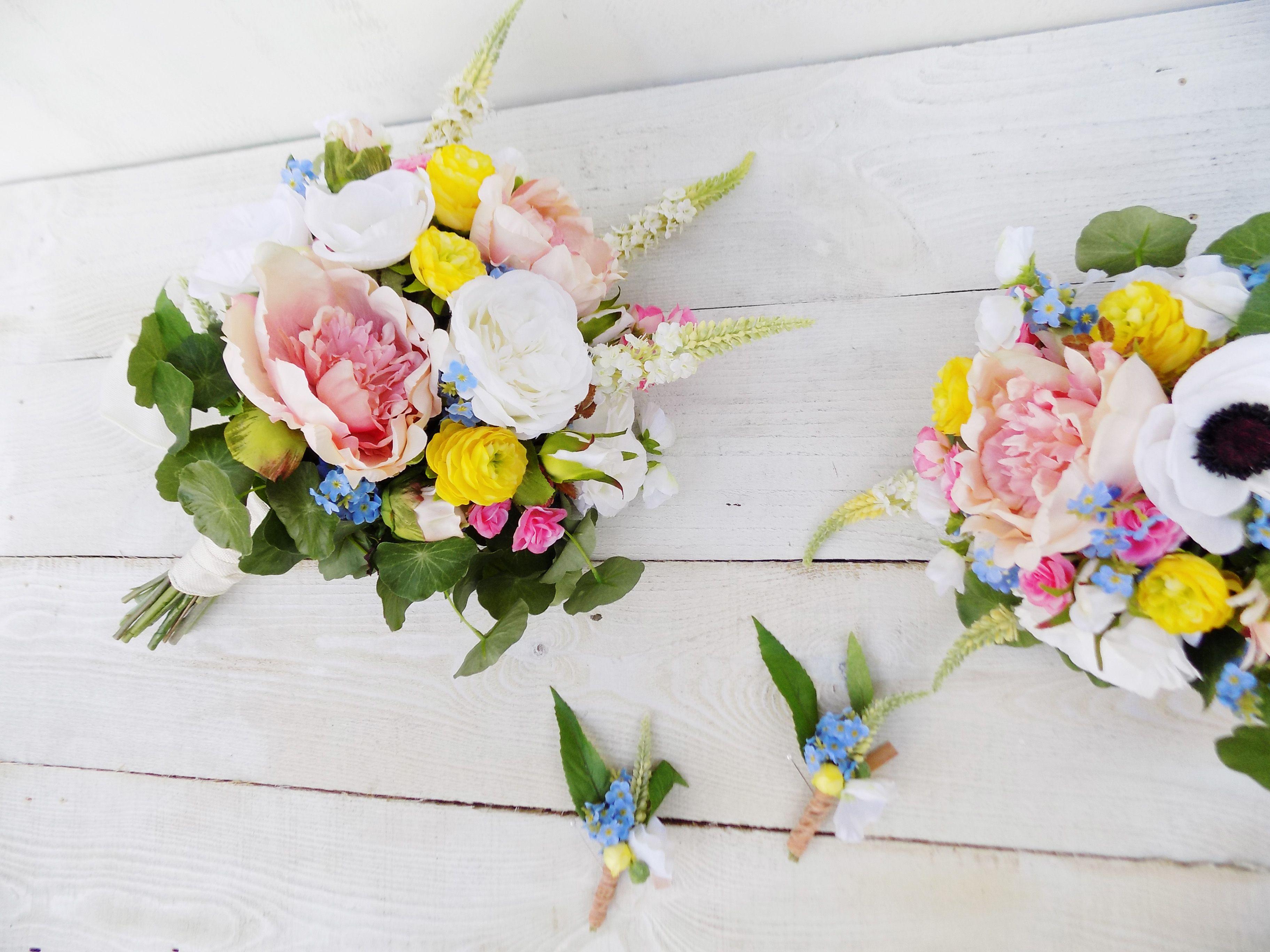 Boho Wildflower Bridal Bouquet Bridesmaid Artificial Silk Wedding
