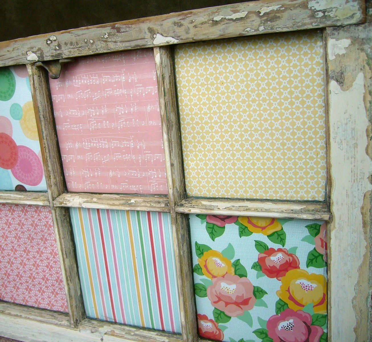 Scrapbook ideas recycled - Old Salvaged Windows Upcycled Recycled Diy Home Decor Scrapbook Paper Behind Old Window Frame Salvage Recycle Upcycle Repurpose For Ideas And Goods