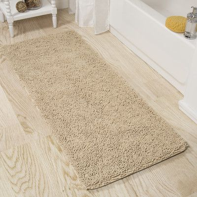 PLYH Memory Foam Shag Bath Rug Color: Ivory