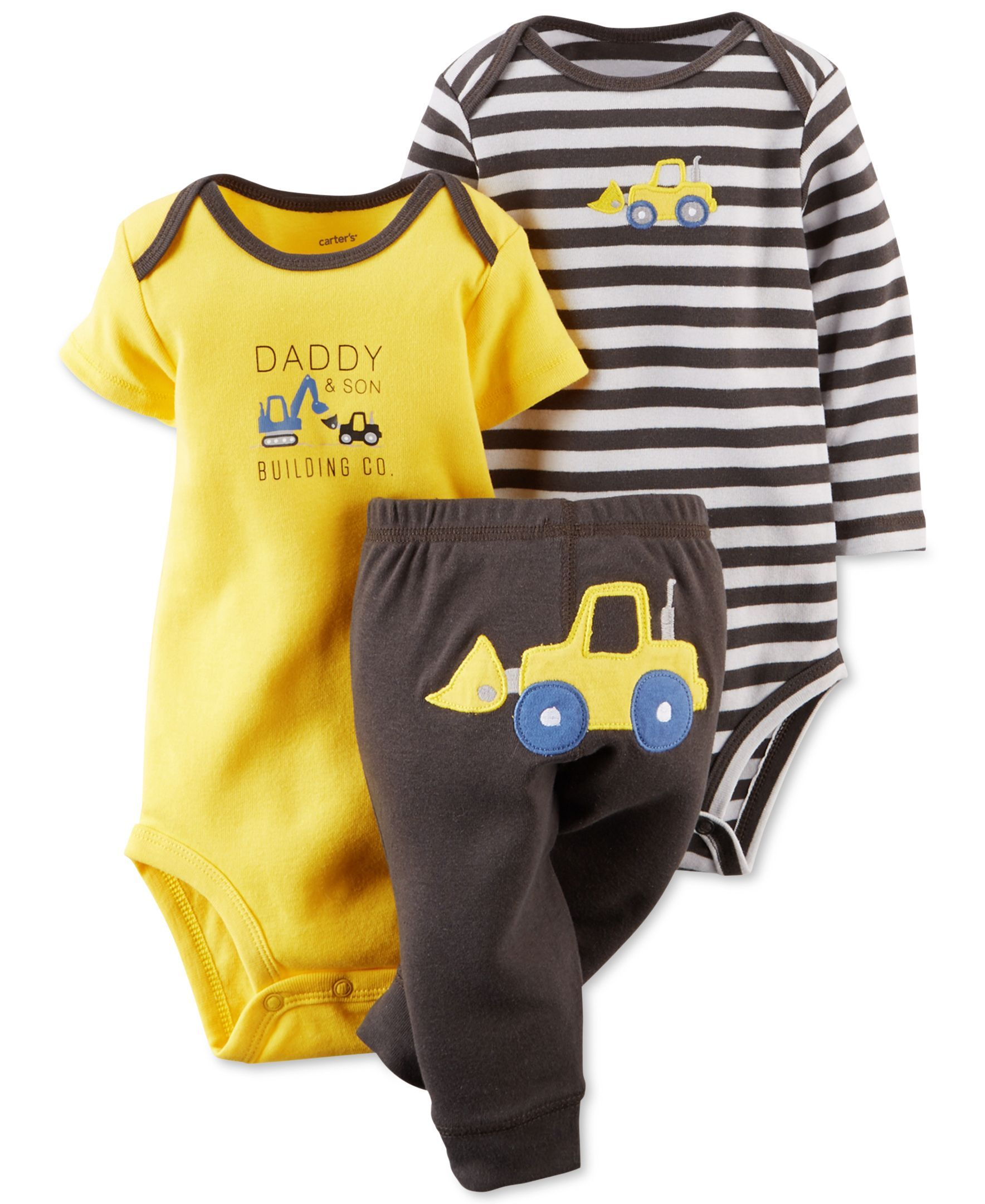 be7d3362e Carter s Baby Boys  3-Piece Construction Bodysuits   Pants Set ...