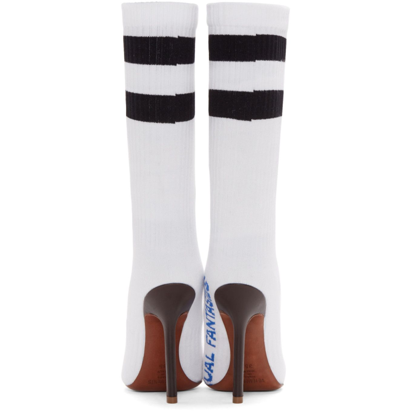 White Logo and Stripes Sock Boots VETEMENTS 1j07yiKg