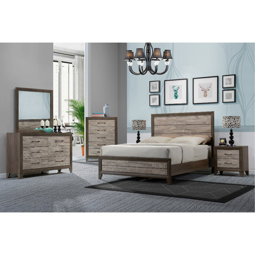 Clearance Contemporary Two-Tone Walnut 4 Piece Queen Bedroom Set ...