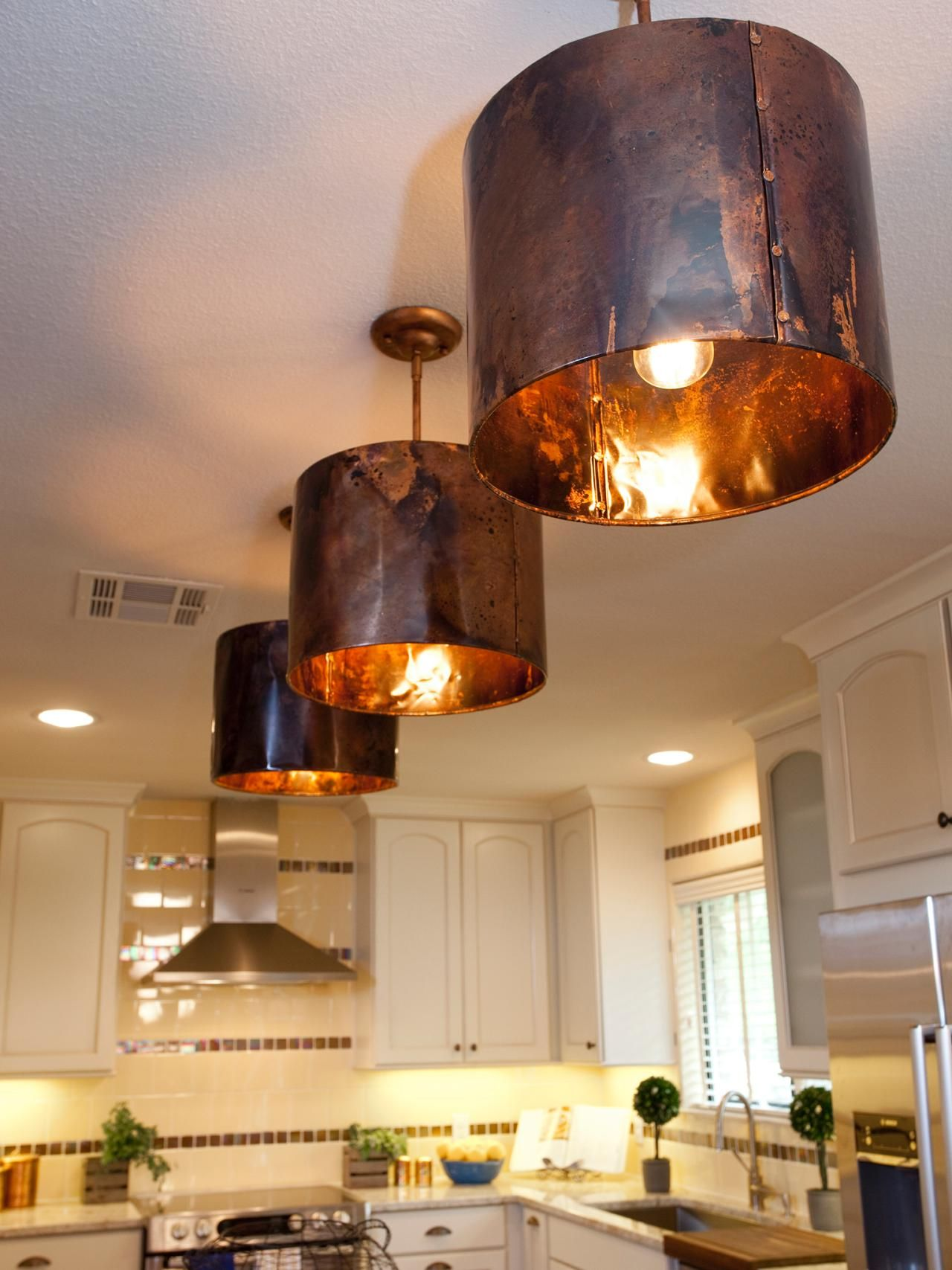 White Kitchen With Copper Light Fixtures Copper Lighting Copper Light Fixture Copper Pendant Lights