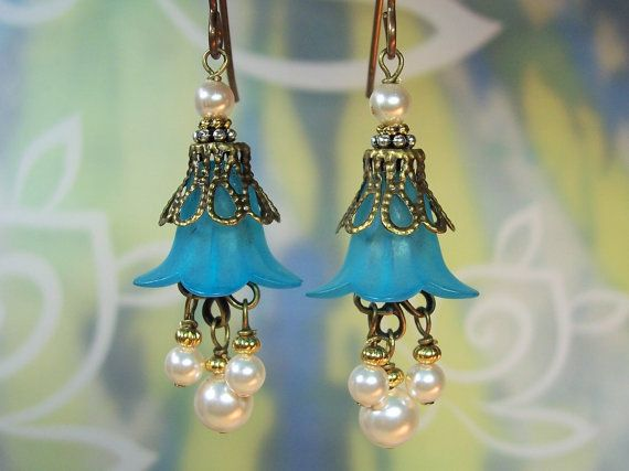 Blue Flower Earring Kit by JewelryKitsHawaii on Etsy