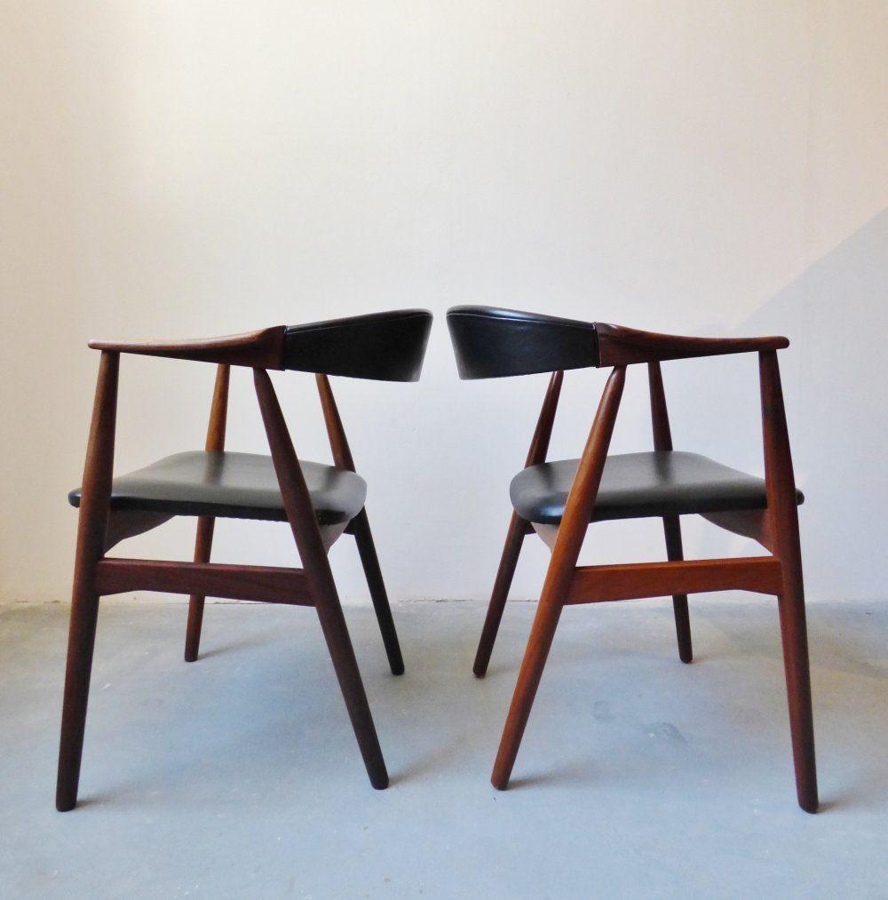 Danish teak desk chairs by Farstrup