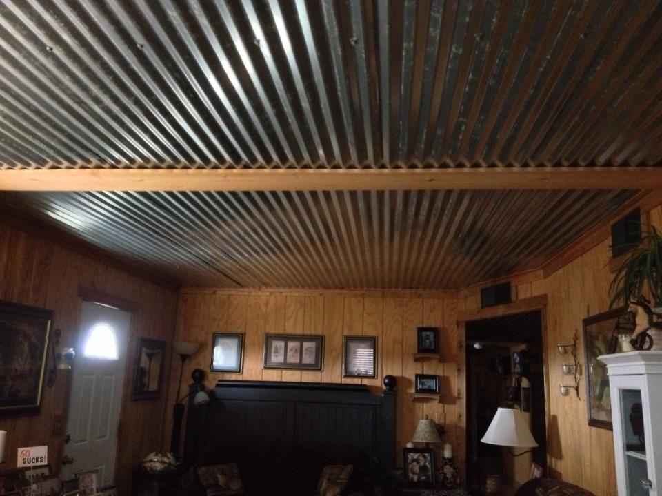 Barn Tin Ceiling In Living Room