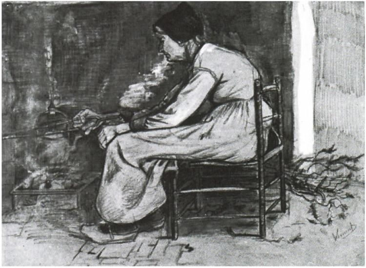 Vincent van Gogh Woman Sitting at the Fireside Watercolor