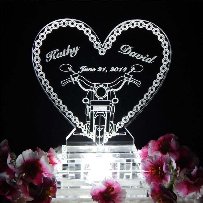 Motorcycle Chain Lighted Wedding Cake Topper Acrylice Top Biker Theme Personalized Engraved By FinesseLaserDesigns On