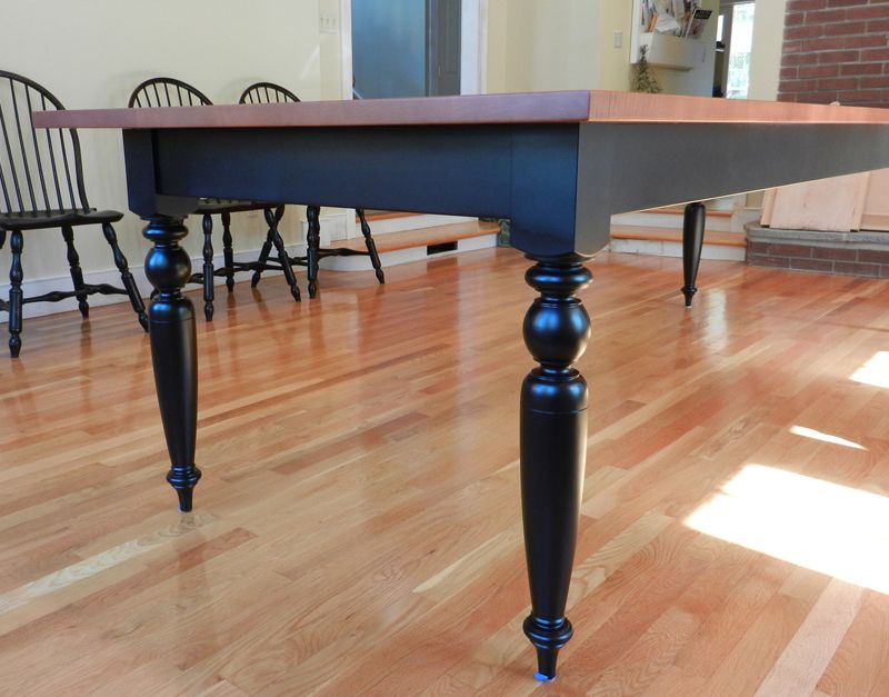 Tiger Maple Dining Room Table With Turned Legs By Hawk Ridge Furniture Of St Johnsbury