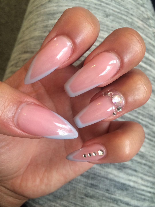 natural nails, nude nails, rhinestone nail art, white nail art ...