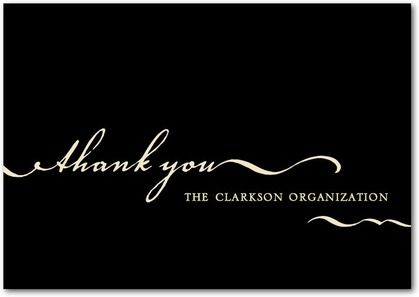 Cursive Swirls Business Thank You Cards in Black or Chocolate