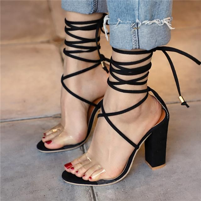 2a5630332bf1 Lace up Transparent Shoes Summer Ankle Strap High Heels  AnklestrapsHeels