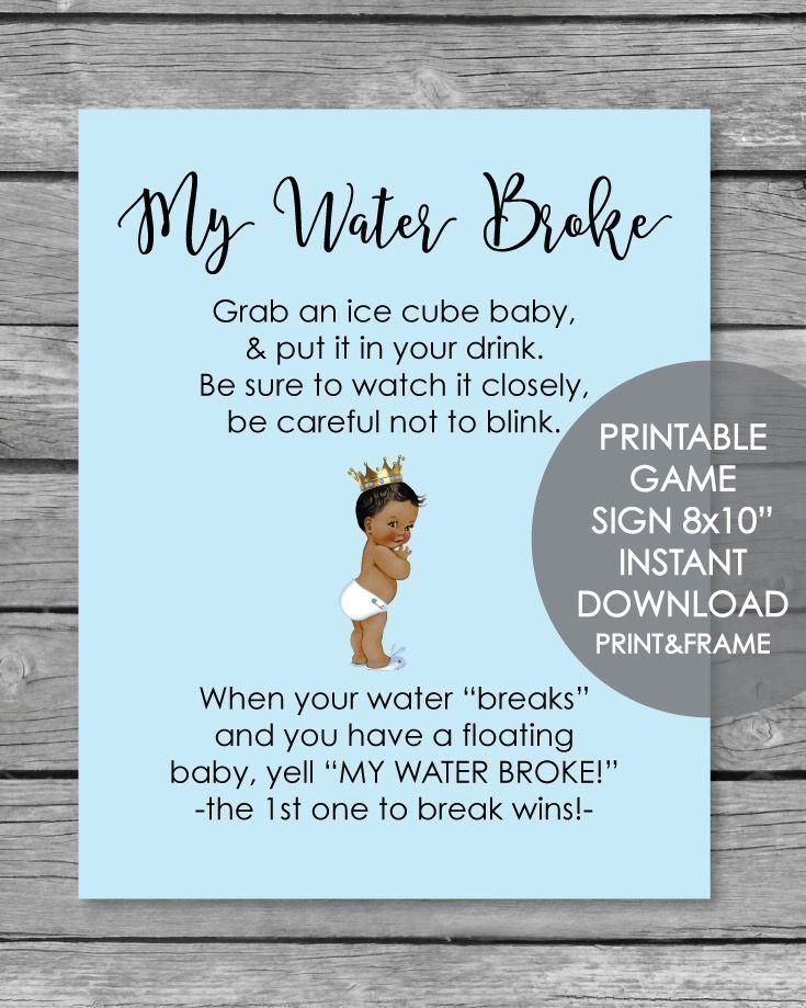 Printable Baby Farm Animals My Water Broke Baby Shower Game
