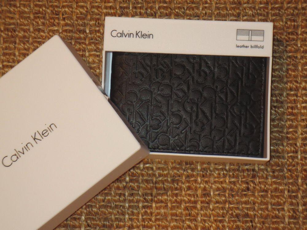 Calvin klein mens wallet black leather ck logo bifold new