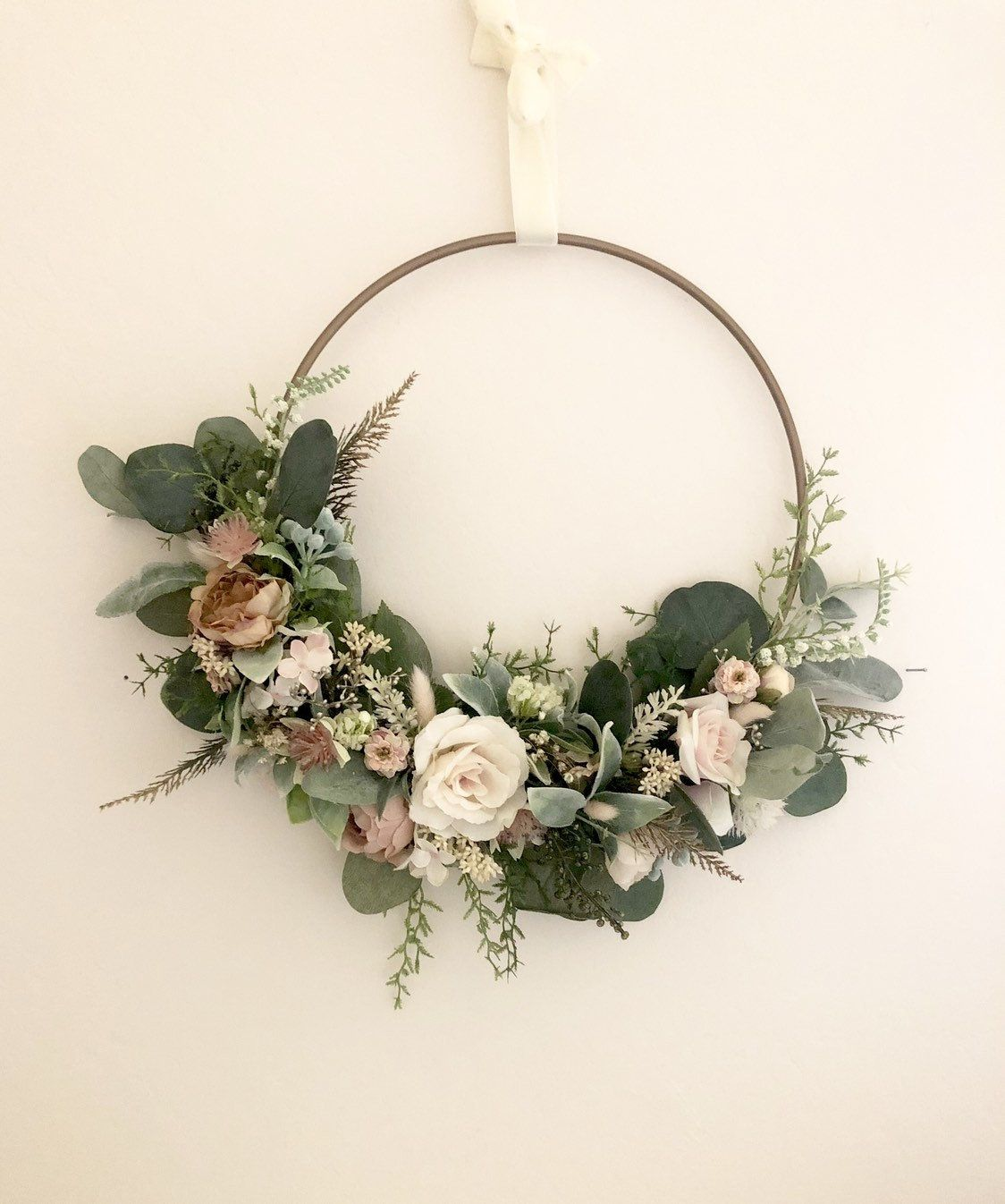 Blush Hoop Wreath Modern Wreath Nursery Wall Decor Floral Wall Decor Wedding Hoop Wreath Wedding Floral Wall Decor Dried Flower Wreaths Wreaths
